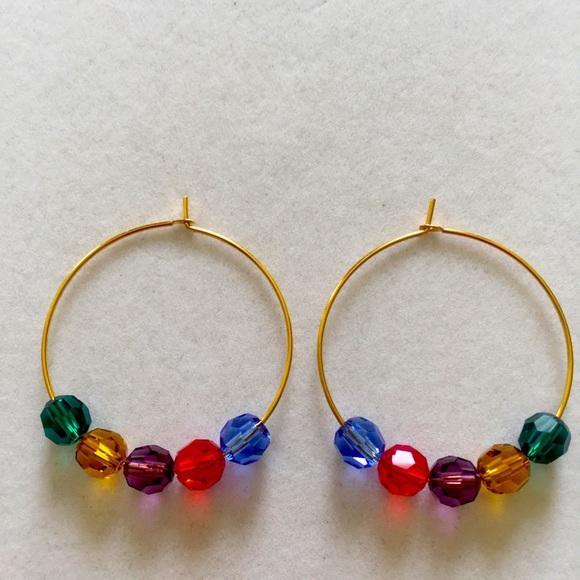 Jewel-tone Swarovski Crystal Hoop Earrings…